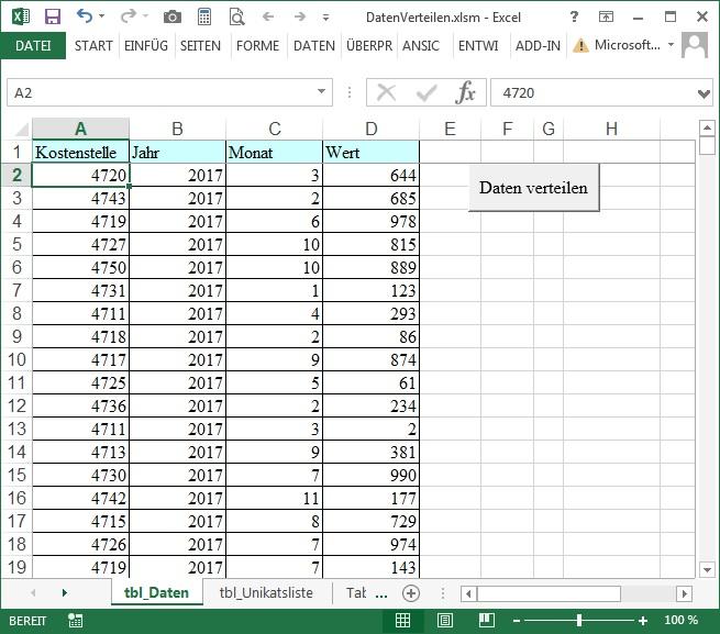 Daten verdichten - VBA-Beispiel
