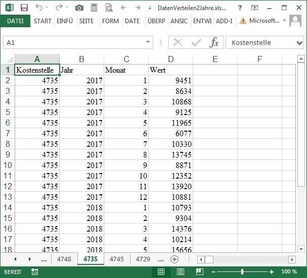 VBA-Beispiel: Daten verteilen