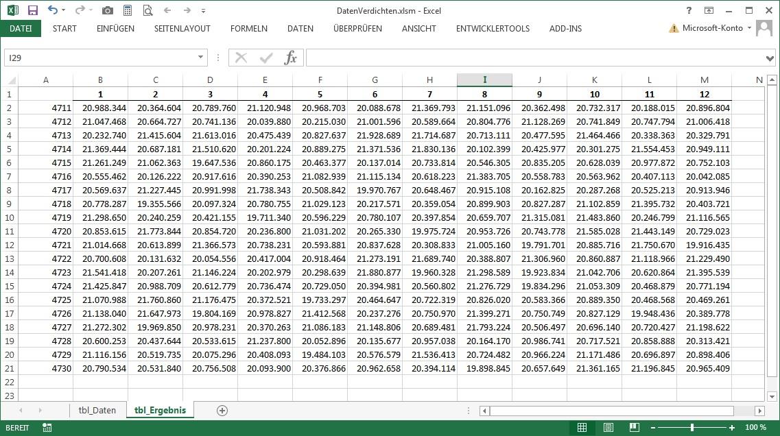 Matrix befüllen mit Daten
